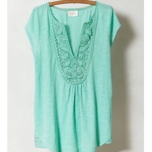 Meadow Rue Anthropologie Mint Lace Yoke Blouse